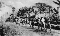 Départ en tournée, le portage - Transports en Afrique Centrale – Photo éditée par l'Agence Togo-Cameroun.