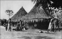 Village de Man. – « Nous entrons désormais dans la grande forêt, en route vers Man. Man était hier un des points les plus arriérés de l'Afrique occidentale française. On vient de terminer une nouvelle route qui met la ville à quarante-huit heures de Bamako. Demain c'en sera fait du mystère de la forêt, de l'anthropophagie et du règne des féticheurs. C'est la région des Dans, qui se disent descendus du ciel par une chaîne d'or. » Source : Morand, Paul, A.O.F. de Paris à Tombouctou, Paris, Flammarion, 1928.