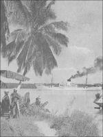 A Benty, ancré dans la Mellacorée, le « Tamara » attend sa cargaison de bananes. – L'appontement de Benty se trouve sur la Mellacorée, une des Rivières du Sud où les navigateurs européens viennent faire du commerce de traite depuis des siècles. Le poste de Benty est l'un des deux forts français fondés dans cette région du temps où Faidherbe était gouverneur du Sénégal, avant la création de la colonie de Guinée. Délaissé après l'édification de Conakry, le lieu reprend du service au milieu des années 1930 à la faveur de la fièvre de la banane guinéenne. Benty devient alors l'escale hebdomadaire de navires bananiers marseillais. Retombé dans sa torpeur quand les bananes latino-américaine eurent raison de leur rivale guinéenne, il faillit connaître une nouvelle résurrection au début des années 1960, comme débouché du minerai de fer de la Guinée forestière. Mais le projet fit long feu : la ligne de chemin de fer nécessaire pour joindre les lointains monts Nimba, à travers le relief, n'aurait pas été rentable. Le gouvernement de la jeune République de Guinée dut se résoudre à négocier l'évacuation du minerai à travers le Libéria, où existait une ligne ferroviaire liant le Nimba libérien au port de Buchanan. Finalement, le gisement guinéen n'entra jamais en production, le marché étant déjà suffisamment approvisionné par la Mauritanie, le Libéria et la Sierra Leone. L'écrivain voyageur Maurice Ricord décrit ainsi l'escale à Benty, au temps de la splendeur bananière : « L'estuaire de la Mellacorée a pour cadre des terres à palétuviers qui forment d'abord, à l'horizon, une interminable et basse ligne verte. [...] Lentement, le Tamara remonte la rivière dont les berges se rapprochent. Dans la verdure, touffue, où l'on distingue maintenant les hautes futaies immobiles des palmiers et des cocotiers, les maisons apparaissent, la résidence administrative, les cases des planteurs, et derrière le rideau des palétuviers, l'on devine les plantations. [...] A peine arrêté dans la riviè