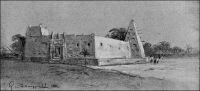 La mosquée de Kankan, vers 1900. Dessin d'époque de Gaston de Burggraff. – Kankan, fondée au XVIIème, est un regroupement de villages partageant des terres avoisinantes et un centre de commerce agricole. C'est aussi un centre religieux ; l'islamisation pourtant ancienne reste longtemps superficielle en Haute Guinée, sauf à Kankan. Samory, qui conquit la ville en 1879, contribua à affermir l'implantation de la religion musulmane en luttant contre les vestiges des cultes traditionnels. La France, en la personne du colonel Archinard, pris Kankan en 1891 et en fit la base arrière des expéditions contre l'Almany (commandeur de croyants, titre de Samory Touré). – « L'histoire dit bien qu'à la suite de la pointe poussée par le colonel Archinard, en 1891, Kankan devint la capitale d'une nouvelle province. En réalité, si ladite capitale n'avait été pourvue d'une solide garnison, le règne de son commandant eut été des plus éphémères. Il n'est pas un jour, où ce poste n'ait eu à échanger des coups de fusil avec les détachements de Samory. Parfois c'étaient les Sofis qui passaient le Milo, l'affluent du Niger sur les bords duquel se dressent les murs de Kankan ; mais le plus souvent l'attaque venait de notre côté ». Source : Baratier, Col., A travers l'Afrique, Paris, Arthème Fayard, 1908.