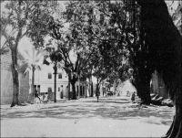 Une rue à Ouagadougou, en 1925. - « Ouagadougou, ville dans la lune […] sur la route de rien du tout. […] Ce n'est pas une ville, c'est un champ de manœuvres. On l'imagine très bien en proie à des charges de cavalerie. Les chevaux, d'ailleurs, même coiffés d'un casque, n'arriveraient jamais au bout de l'avenue : ils s'abattraient au milieu, les flancs palpitant comme un soufflet […]. Plus large, plus longue que les Champs Elysées, une allée coupe en deux la brousse brûlante. De chaque côté, des bâtisses jumelles et noirâtres se répondent. Ce sont des palais… des palais de boue. » Source : Londres, Albert, Terre d'ébène, Paris, Albin Michel, 1929.