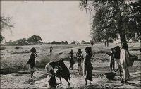 Niamey, une corvée d'eau. - Le Général Gouraud raconte ainsi le fondation de la ville de Niamey, au sens militaire et administratif du terme, en septembre 1901 : « La situation du poste de Sorbo, non loin des berges du fleuve, ne présentait aucun avantage : l'artère commerciale dont on nous avait parlé n'existait pas. A peu de distance, Niamey, petit village à proximité d'un gros marché, de site salubre me parait favorable, d'autant mieux que là se trouve la tête de notre ligne d'étapes fluviales (Niamey est aujourd'hui le chef-lieu de la colonie). Ce sera la résidence du commandant de cercle, de son adjoint, du chef des services administratifs, qui aura sous sa surveillance immédiate le magasin de réserve de ravitaillement qu'y déposera la flottille du Bas-Niger. […] Le commandant de cercle aura sous son autorité les populations situées entre le Niger et le Dallol Bosso ». Source : Gouraud, Gal, Zinder Tchad, Paris, Plon, 1944.