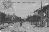 Dakar, avenue Roume - datée du 28.2.1916 - la tour que l'on aperçoit sur un bâtiment à gauche est celle du Gouvernement Général