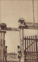 Cotonou, l'entrée du wharf. – La construction du wharf de Cotonou débute en 1891. L'édifice, appelé à soutenir la vocation portuaire de la ville et à faciliter le débarquement des troupes alors que la guerre se profile, est finalement ouvert au trafic commercial le 7 mai 1893. A compter de 1899, il permet aux navires d'accoster à Cotonou, au rythme d'un par mois. L'emplacement du wharf va structurer le développement urbain de la ville : les quartiers vont s'étendre autour de lui et le long de la plage sur la rive ouest de la lagune.